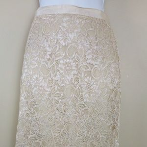 NY & Co Collection Beige Lace Skirt Size 2